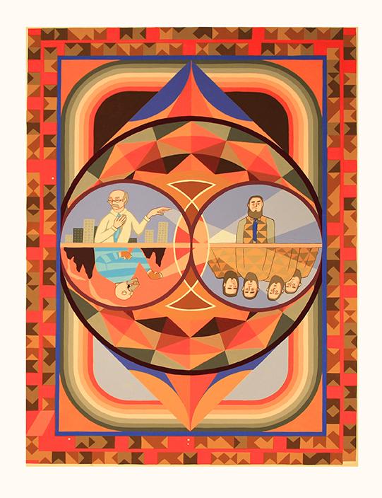 'Ebenezer's utopian vision.', 2016<br/>Gouache on paper, 56 x 76 cm