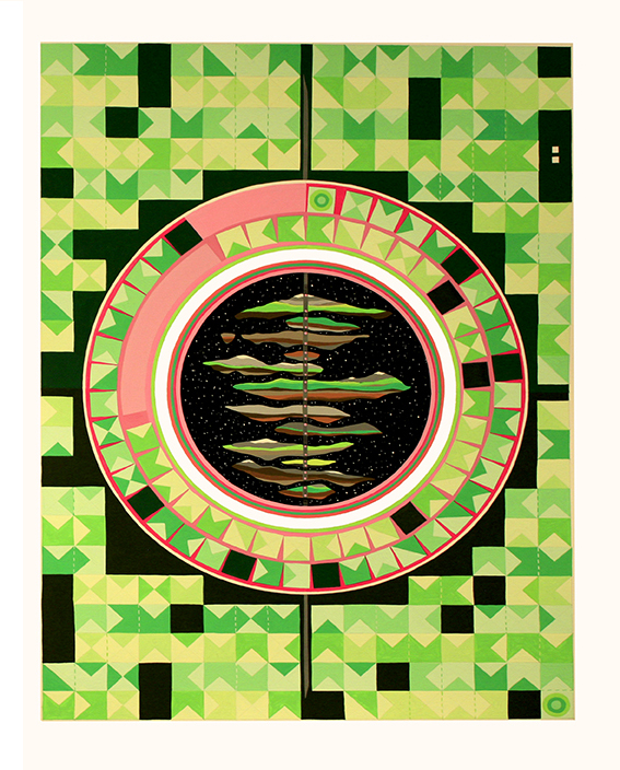 'The electro and magnetoterretrial spectra', 2016<br/>Gouache on paper, 56 x 76 cm