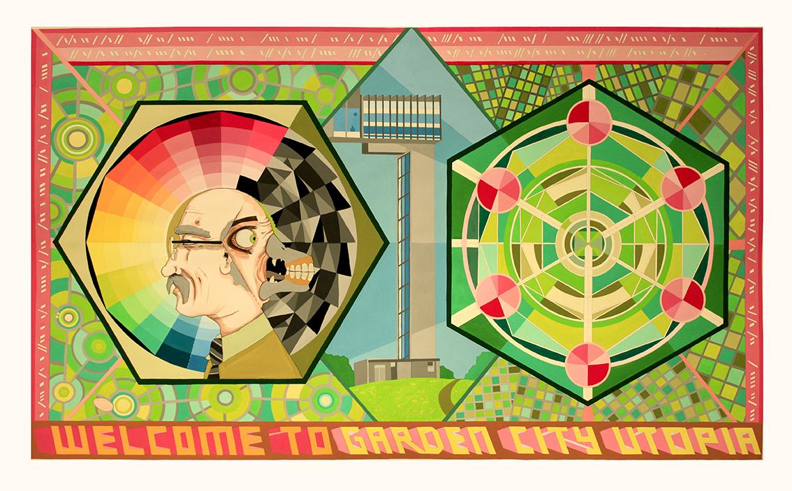 'Welcome to Garden City Utopia', 2016<br/>Gouache on paper, 122 x 76 cm