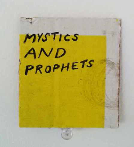 Eugene Carchesio, Mystics and Prophets, 2017<br/>watercolour on found cardboard, 6.5 x 6 cm