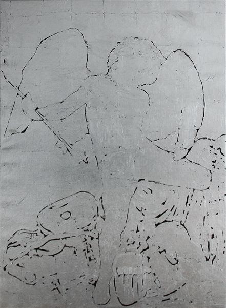 "Laura Cionci, Caravaggio | Amor Vincit Omnia, ""AMOR VINCIT OMNIA"", 2017<br/>silver leaf on canvas, 156 x 113 cm"