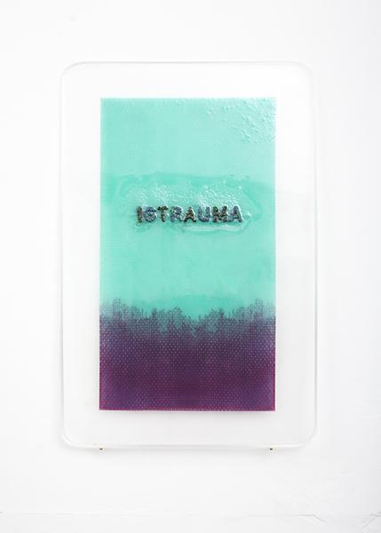 Steven Rhall, IGTRAUMA, 2017, embroidery thread, acrylic paint, epoxy resin, synthetic cloth, 40 x 26 cm